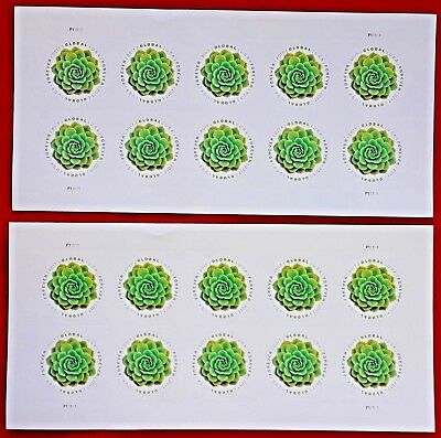 Two sheets of 2017 GREEN SUCCULENT $1.15 Global Forever US Postage Stamps # 5198