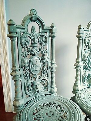 Vintage Antique Pair Cast Iron Victorian VERY Ornate Garden Chairs RARE!