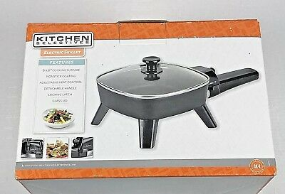 """Kitchen Selectives Electric Skillet 6"""" x 6"""" Non-Stick Cooking Surface Glass Lid"""