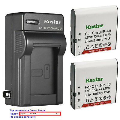 Kastar Battery Wall Charger for Casio NP-40 Casio Exilim Zoom EX-Z57 Camera