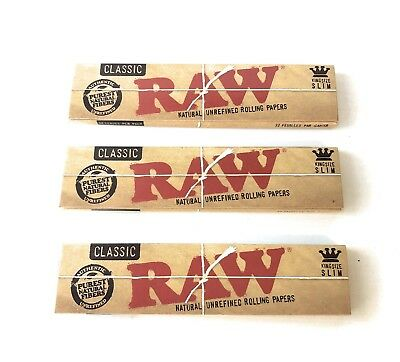 Classic RAW Natural Tobacco Rolling Papers King Size Slim 3 Packs 32 Leaves Each