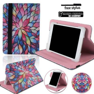 Flower Universal Folio Leather Rotating Stand Cover Case For Various Tablet