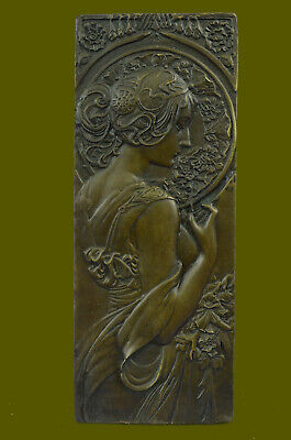 Art Nouveau The Blonde Large Bronze Plaque  Signed by Milo, Lost Wax Method Art