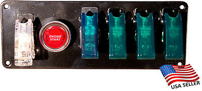 12V Switch Panel Black Powder Coat 4 Green Switch/1 Clear-Red/Push Start Button