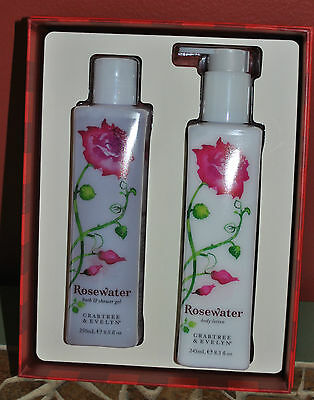 Crabtree & Evelyn Rosewater Bath & Shower Gel, Body Lotion Duo Set New In Box!