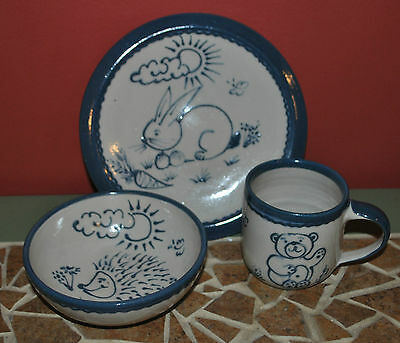 Child's Hand-painted Pottery from Belgium Plate, Bowl & Cup NEVER USED!