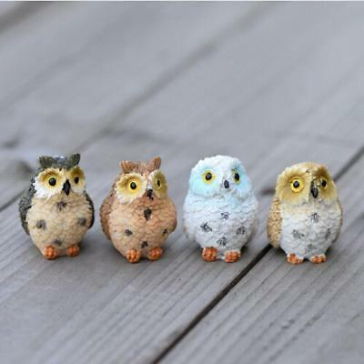 4pcs Mini Owl Birds Figurines Small Sculpture Home Decor Collectibles FS