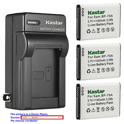 Kastar Battery AC Wall Charger for Samsung BP-70A & Samsung ST75 ST76 Camera