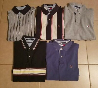 Lot of 5 Tommy Hilfiger Men's Polo Shirts Short Sleeve in size L/M
