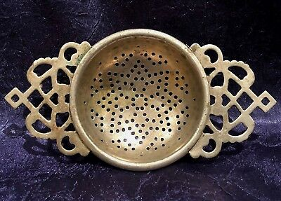 Antique-Vintage England; Stamped-Silver-Plated Dual-Scrolled-Handle Tea-Strainer