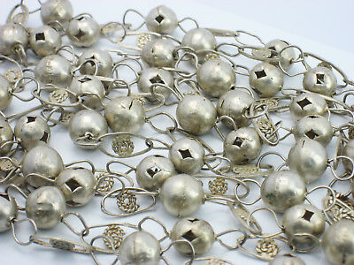"""Antique Vintage Ornate Solid Sterling Silver Bead & Filigree 80"""" Chain Necklace"""