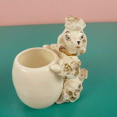 Vintage Spaghetti Poodle Planter White Porcelain MCM Kitsch Collectibles