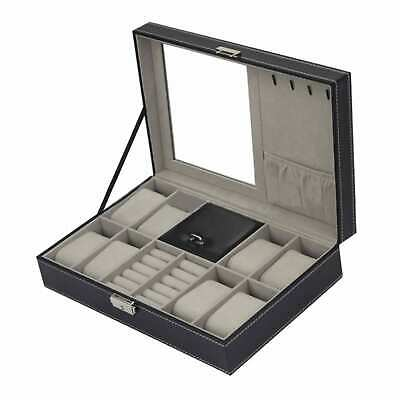 Leather watch box black display case Storage Australia mens jewellery boxes