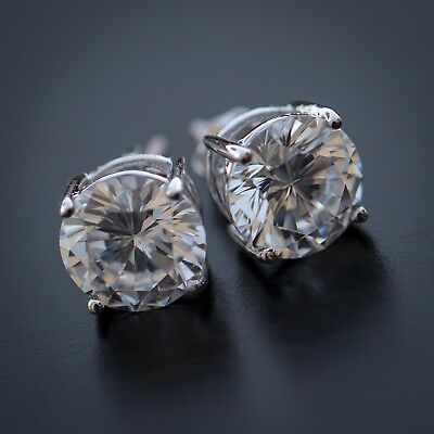 Men's 14k Sterling Silver White Gold Lab Diamond Round Screw Back Stud Earrings