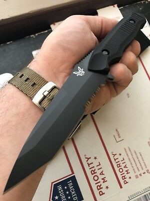 NEW Benchmade Nimravus Tanto Serrated Fixed Blade Knife Black w/ Sheath