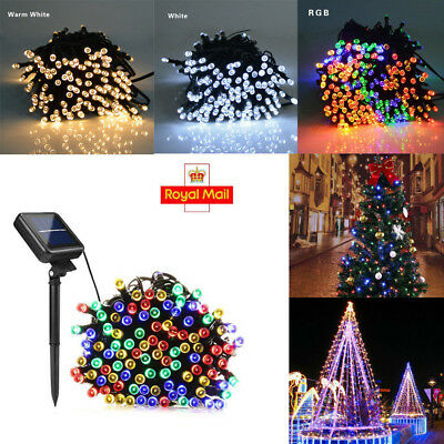 100 LED Solar Power Fairy Lights String Garden Outdoor Party Wedding Xmas 12M dd
