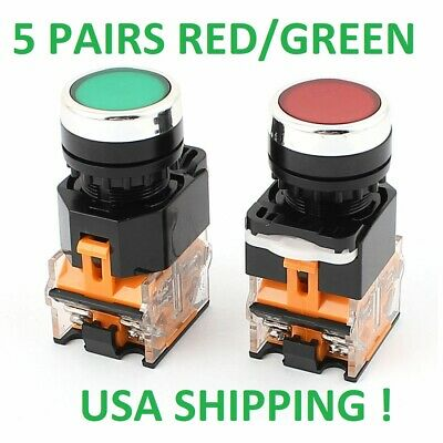 5 Sets ,22Mm Red/Green Start/Stop 5 Red Switch & 5 Green Switch , Non-Latching