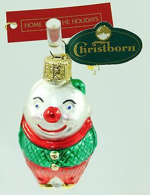 Vintage Red Green Glass Clown Christmas Ornament Holiday Tree Decoration