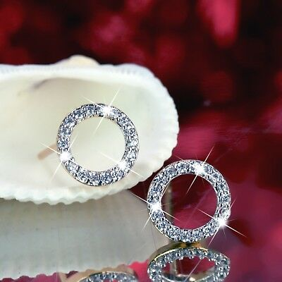18k yellow white gold gf stud made with Swarovski crystal round earrings classic