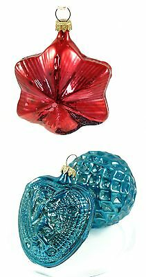 Vintage Red Blue Glass Germany Ball Christmas Ornament Holiday Decoration Lot