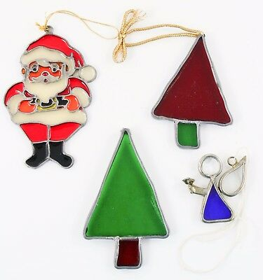 Santa Tree Angel Stained Glass Lot of 4 Christmas Ornament Holiday Decoration
