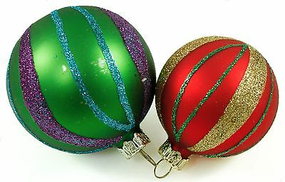 Vintage Multicolor Glass Red Gold Ball Christmas Ornament Holiday Decoration Lot