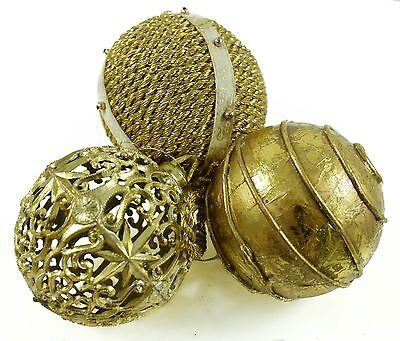 Vintage Gold Plastic Wire Ball Christmas Ornament Holiday Decoration Lot