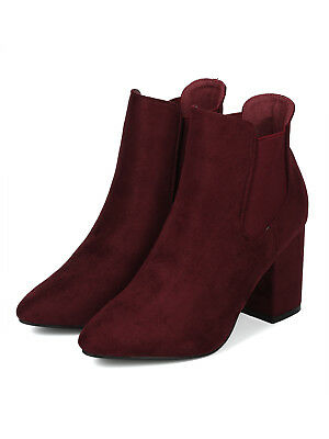 8d2e9be3936 Women Faux Suede Pointy Toe Block Heel Chelsea Bootie - 18075 By Yoki  Collection