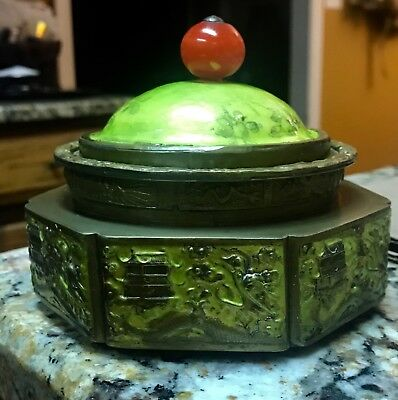 Antique Chinese Cloisonne and Enamel Tea Caddy Marked