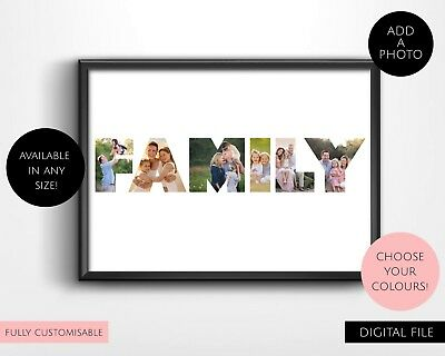 Printable Personalised Name or Word Photo Collage Wall Art Print