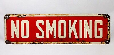 Early-Mid 20Th C Vintage Enamel On Steel 'No Smoking' Sign In Red, W/White Trim