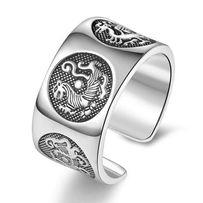Silver Ring 999 Solid Vintage Chinese Four Mythic Animal Personality Jewelry