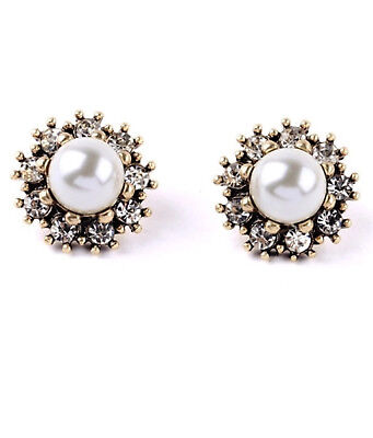 New J crew factory faux pearl crystal antique gold stud earrings