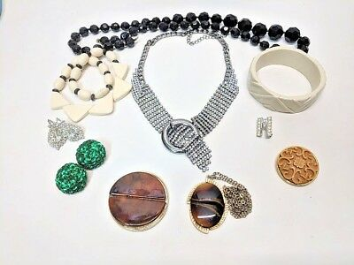 Art Deco Jewelry Lot Usable Gorgeous Pieces Rhinestone, Carved Pieces & More