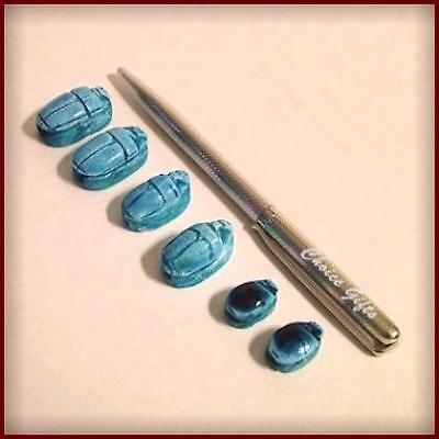 Vintage Egyptian Blue Carved Stone Lucky Charm Beetle/Scarab/Amulet/Bead ~ ST6