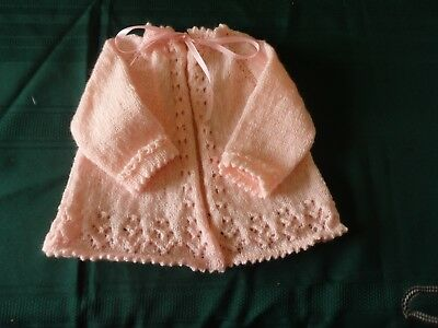 NEW - Hand knitted pink matinee jacket 000