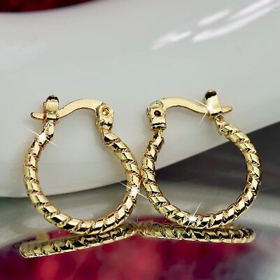 18k yellow gold gp hoop earrings small hoops simple classic twisted pattern