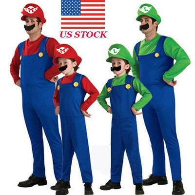 Mario Luigi Famaily Costumes Kids Adults Super Mario Bros Halloween Fancy Dress