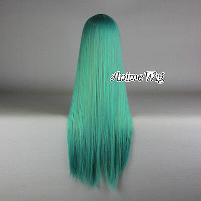 AU 80CM Lolita Girl Mixed Green Long Straight Fashion Cosplay Wig+Cap
