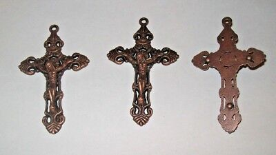 Lot of 3 Antique Copper Tone Crucifixes 2 Inch Ornate Cross Pendant for Rosary