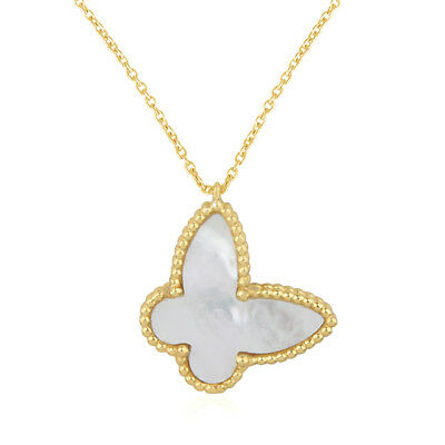Mother of Pearl 18K Gold Plated 925 Sterling Silver Pendant Necklace Jewelry