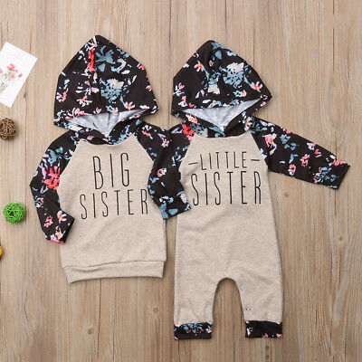 USA Baby Girl Sister Match Floral Clothes Hooded Top Kids Jumpsuit Romper Outfit