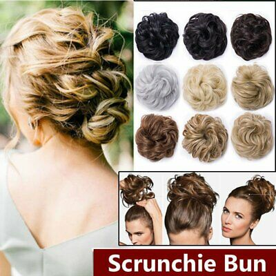 Real Natural Curly Messy Bun Hair Piece Updo Scrunchie Hair Extensions as Human