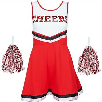 Halloween Red Cheerleader Fancy Dress Outfit High School Uniform Costume Pom Pom