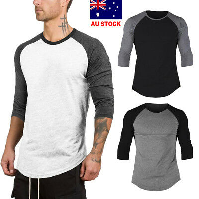 Men's 3/4 Sleeve Raglan Baseball T-Shirts Jersey Casual Tops Tee Shirt Blouse AU