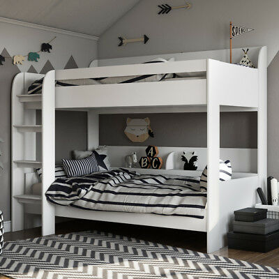 Kids 3ft Single Wooden Storage Aerial Bunk Bed White 190 x 90