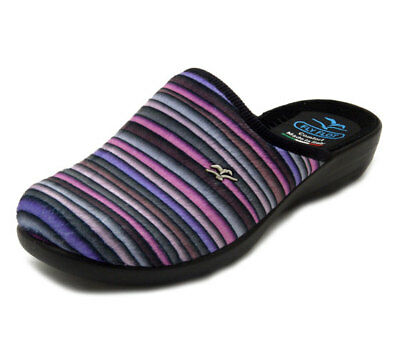 130a9b7313add FLY FLOT Pantofole Donna Invernali in Velluto a Righe Viola con Zeppa 3 cm  P3N07