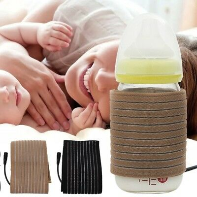 Portable Baby Feeding Bottle Thermostat USB Milk Water Warmer Tea Heated Cover