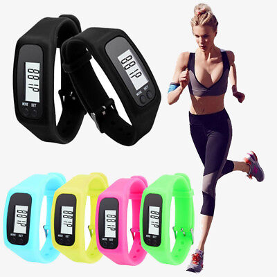 Pedometer Watch LCD Steps Count Bracelet Silicone Wristband Distance Tracker AS