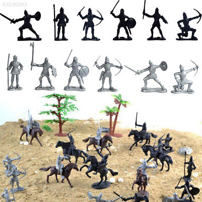 2156 Black & Silver Warriors Medieval Model Knights Action Soldier Realistic